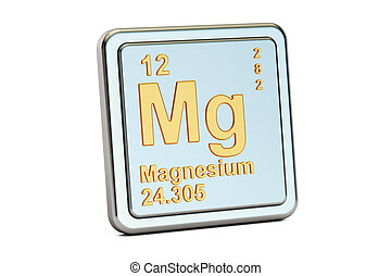 Magnesium, Mg chemical element sign. 3D rendering isolated...