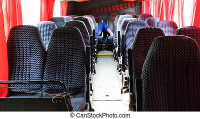 bus travel empty seats in cabin - bus travel empty seats in...