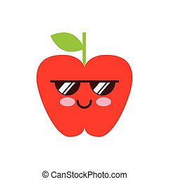 apple fruit icon - kawaii apple fruit icon over white...