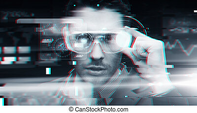 man in virtual reality or 3d glasses with glitch -...