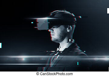 man in virtual reality headset or 3d glasses - cyberspace,...