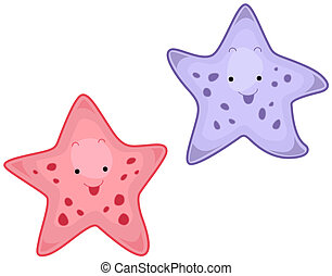 Starfish - A Pair of Cute Starfishes Isolated against White...