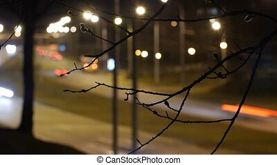 Time lapse, the light trails of city traffic. - Time lapse,...