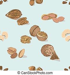 patrón, semillas, nueces,  seamless, colorido