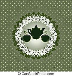 Invitation card with teapot and cups