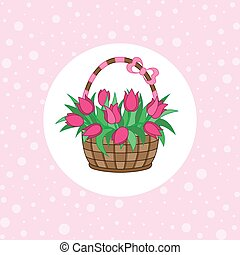 Gift basket with tulips