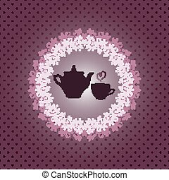 Invitation card with teapot and cup
