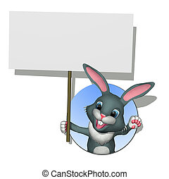 Bunny with Blank Sign
