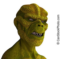 Reptilian Alien Portrait - 3D rendered portrait of a...