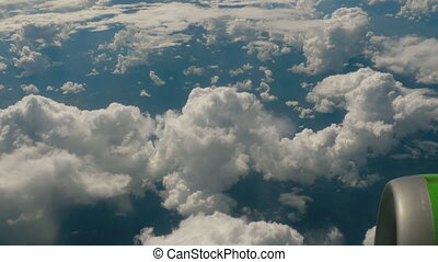 Aerial view from descending airplane - The aircraft makes a...