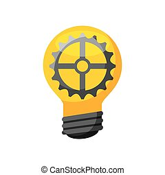 bulb light icon - bulb light with gear icon over white...