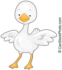 Cute Goose - A Cute White Goose with Wings Spread Wide