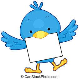 Bird Message - A Flying Little Blue Bird Carrying a Piece of...