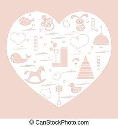 Vector illustration kids elements arranged in a heart: bird,...