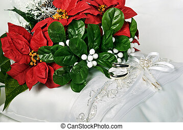 Christmas Wedding - Christmas bridal bouquet with rings on...