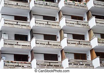 apartment building exterior - balcony facade