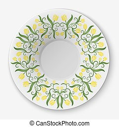 Vector plate with floral pattern