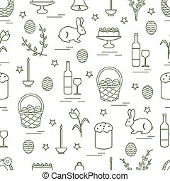 Cute seamless pattern with different symbols for Easter....