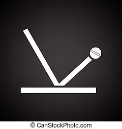 Cricket ball trajectory icon. Black background with white....
