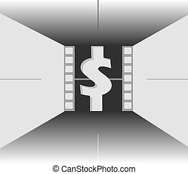 dollar symbol - illustration of a film negative roll with...