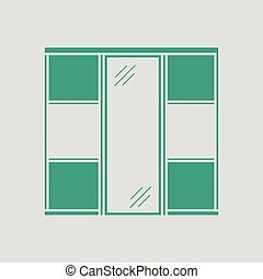 Wardrobe closet icon. Gray background with green. Vector...