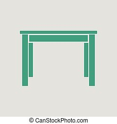 Dinner table icon. Gray background with green. Vector...
