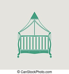 Crib with canopy icon. Gray background with green. Vector...