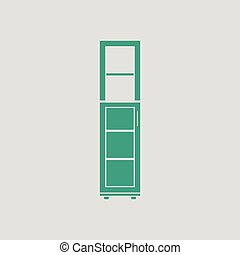 Narrow cabinet icon. Gray background with green. Vector...