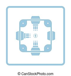 Electrical junction box icon. Blue frame design. Vector...