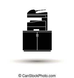 Copying machine icon. White background with shadow design....