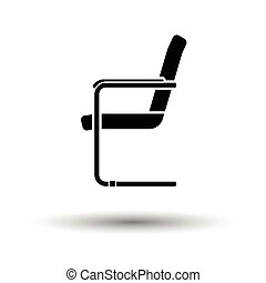 Guest office chair icon. White background with shadow...