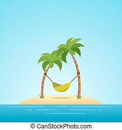 Paradise in Hawaii. Tropical island in the sea with palms and hammock. Place to spend a vacation away from civilization.
