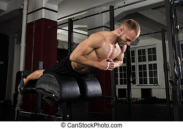 Man Doing Core Exercise On Exercise Equipment - Low Angle...