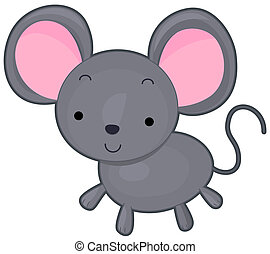 Mouse - A Cute Smiling Mouse Against White Background