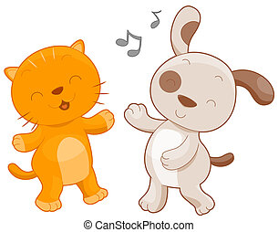 Cat and Dog - A Chubby Cat and Dog Dancing Together Against...