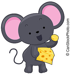 Mouse - A Cute Mouse Holding a Slice of Cheese