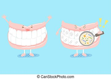 cute cartoon denture on blue background with tooth problem