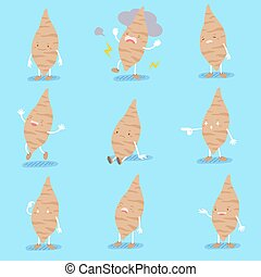 cute cartoon sweet potato with different emotion