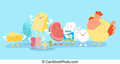 protein food family - cute cartoon protein food family smile...