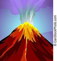 volcano mountain top exploding isolated on blue background