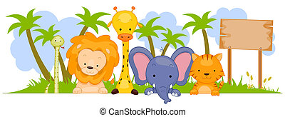 Wild Animal Banner - A Group of Wild Animals Against White...