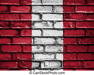 National Flag of Peru on a Brick Wall - National flag of...
