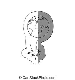 sticker silhouette earth world map with continents ejection flying
