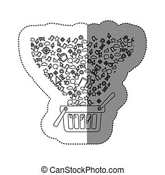 sticker silhouette shopping basket with communication tech elements