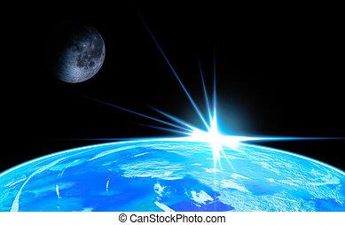 Earth with Rising Sun