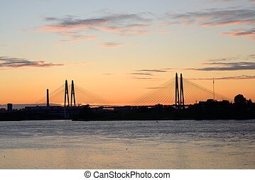 Cable stayed bridge and Neva river. - Cable stayed bridge...