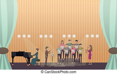 Vector illustration of choir and pianist performing on stage.