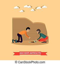 Ancient artifacts concept vector illustration in flat style...