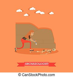 Archaeologist profession concept vector illustration in flat...