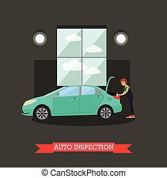 Auto inspection vector illustration in flat style - Auto...
